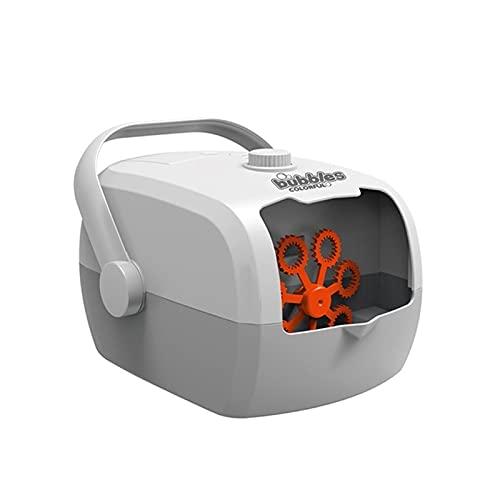 SuDeLLong Máquina para Hacer Burbujas Maleta de Burbuja eléctrica Máquina automática Máquina de Burbuja Fiesta Etapa de Juguetes al Aire Libre (Color : Grey White, Size : 20.6x15x12.4cm)