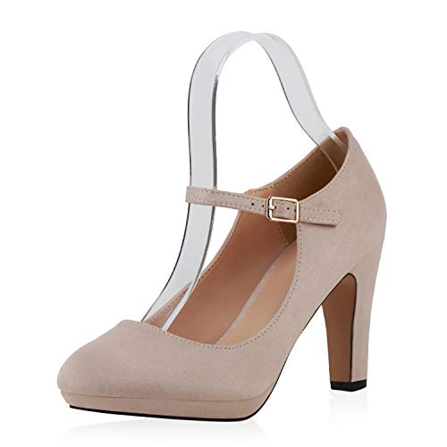SCARPE VITA Damen Pumps Mary Janes Veloursleder-Optik High Heels Blockabsatz 160327 Creme 37
