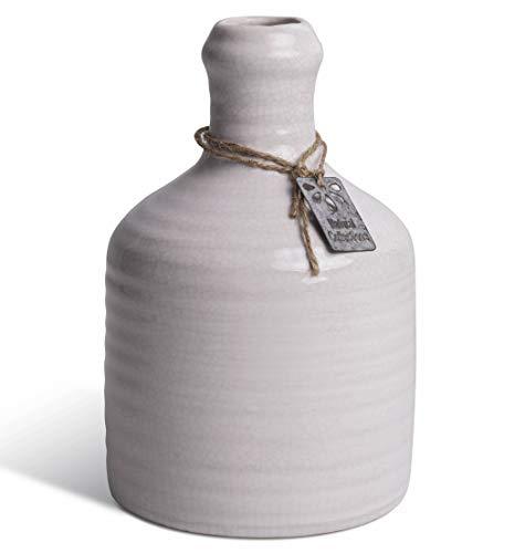 2er Set Vase aus Keramik, 16 cm hoch, als Deko für Küche, Badezimmer, als Tischvase im Wohnzimmer, Balkon oder Garten in weiß Craquele, als Geschenk zu Ostern