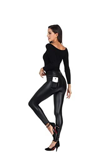 MCEDAR Women's Faux Leather Leggings with Pockets...