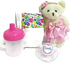 Baby Doll Custom Set Compatible with Snackin Lily Includes: Baby Alive Sippy Cup + Bear (Designs May Vary) + Baby Alive Diaper (Prints Vary) + Lovely Pacifier