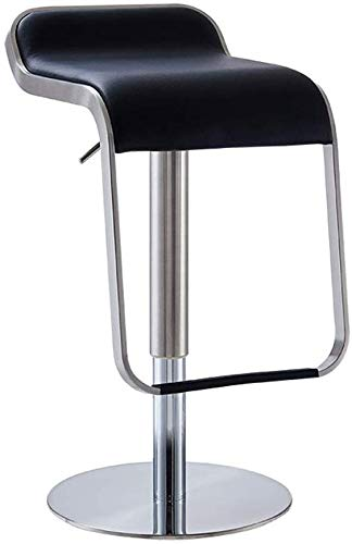 YLCJ Comfortabel kussen Barstoel Draaibaar RVS barkruk Barkruk Oversized frame Stabiele Voorbank Slaapkamer kruk (Kleur: wit, Afmetingen: 38 * 87 cm) 38 * 87CM Zwart