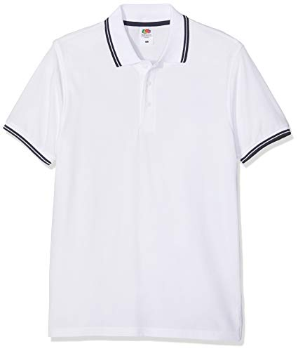 Fruit of the Loom SS034M Herren Poloshirt , Blau (White/Deep Navy),XXX-Large