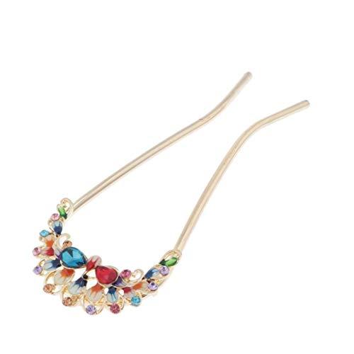 HomeDecTime De Cheveux Vintage, Cristal Strass Double Broches épingle à Cheveux - Cheveux Chinois Style Chignon Pin - Multicolore
