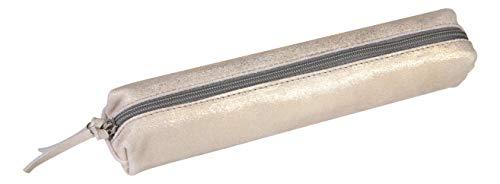 Clairefontaine 400038C - Petite Trousse SLIM en Véritable Cuir, Plume Or