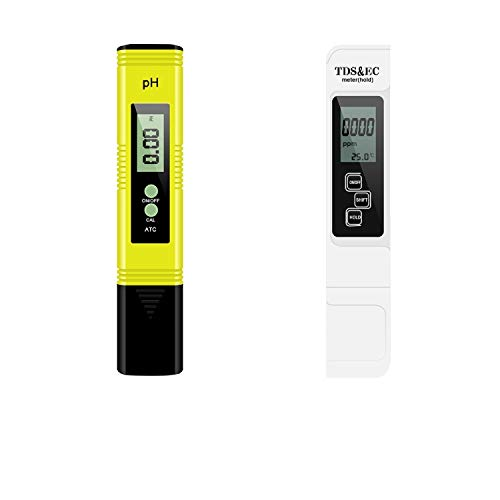 iPower pH and TDS Meter Combo, 0.05ph High Accuracy Pen Type pH Meter +/- 2% Readout Accuracy 3-in-1 TDS EC Temperature Meter