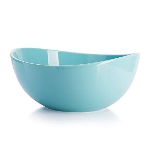 Sweese 125.002 Salatschüssel aus Porzellan, 1600 ml, Verwenden Sie als Servierschale, Salatschale, Suppenschale, Rührschale, Helltükis