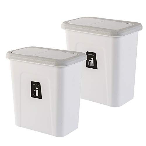 HOMESPON 2 Pack Hanging Trash Can Push-Top Small Waste Bin with Automatic Return Lid to Fix Garbage Bag for Kitchen Cabinet Door and Bathroom, Diaper Pail, Hanging Garbage Can for Office and Baby Crib