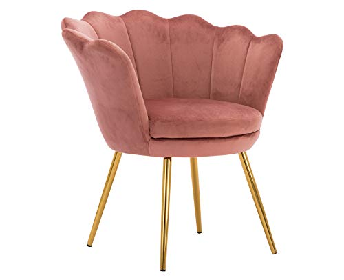 Kmax Living Room Chair, Mid Century Modern Retro Leisure Velvet Accent Chair with Golden Metal Legs, Vanity Chair for Bedroom Dresser, Upholstered Guest Chair - Dusty Pink