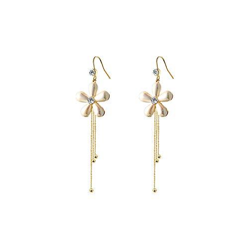 Pendientes Kiccoum para mujer con diseño de flor grande, borla larga, pendientes para mujer, joyas de circonita