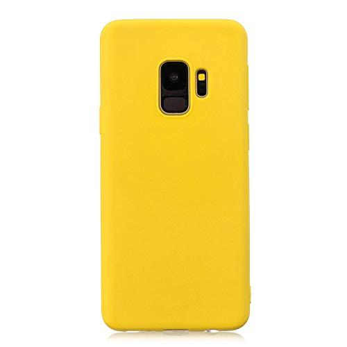 cuzz Funda para Samsung Galaxy S9+ Plus+{Protector de Pantalla de Vidrio Templado} Carcasa Silicona Suave Gel Rasguño y Resistente Teléfono Móvil Cover-Amarillo