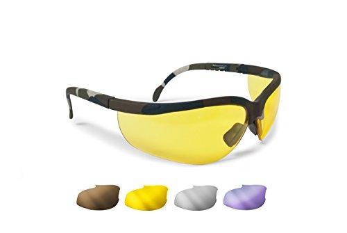 Bertoni Ballistische Schutzbrille Schießbrille 4 Wechselgläser Beschlagungsfrei Bruchsicher UV Schutz Linsen - AF159A Military Camouflage
