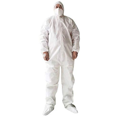 MUXIAND Einweg-Schutzkleidung Weiß Verbundene 2-Lagen-Vlies-atmungsaktive, staubdichte und wasserdichte Isolierkleidung
