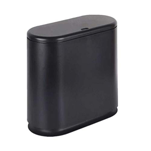 IEEK Plastic Trash Can with Press Top Lid,2.4 Gallon /10 Liter Garbage Can,Black Modern Waste Basket Thin Trash Cans for Bathroom,Kitchen,Living Room,Office and Narrow Spaces