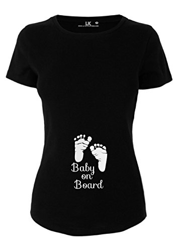 T-shirt de grossesse avec inscription « Baby On Board » - Noir - Large