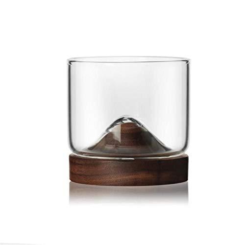 LUXONE Copa de Vino Transparente con Base de Madera Vaso de Cerveza Resistente al Calor Vino Taza de té Bar Bebida Taza de Agua