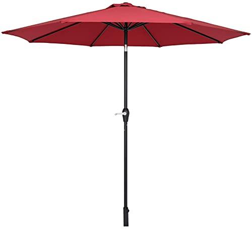 Sombrilla central impermeable plegable para playa, color rojo vino (no incluye base)