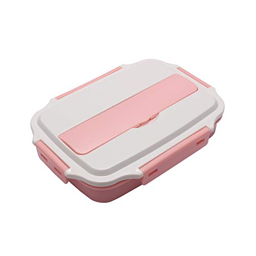 AINAAN Stainless Steel Leakproof Lunch Box,Dishwasher Safe, BPA-Free,Equipped with cutlery and suitable tote bag, 2019, White Pink