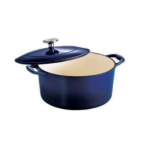 Tramontina 80131/075DS Enameled Cast Iron Covered Round Dutch Oven, 5.5-Quart, Gradated Cobalt