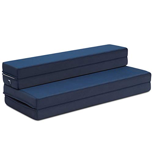 Giantex 4' Thick Folding Portable Mattress Pad Sofa Bed with No Carrying Handles and Removable Washable Fabric, High-Density Foam Futon Sleepover Guest Easy to Store (Queen, Blue)