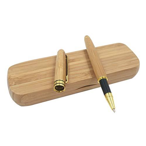 STOBOK Bolígrafo de bambú con estuche de regalo Rollerball Pen para el día de aniversario del Día del padre de Calligraphy de la firma