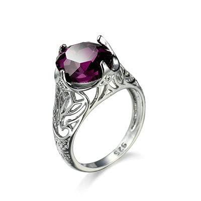 Bishilin Alianza de Eternidad Plateada para Mujer Púrpura Estilo de Moda Anillo Simple Clásico Anillos de Alianzas de Boda de Matrimonio con Púrpura Ovalada Circonita Tamaño:12