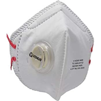 Venus V-4200N95 Is India's Most Trusted Dust Respirator with Patented Stay Cool Butterfly Vent Valve Which Reduces the Temperature Inside the Respirator by 10 F, Pack of 10