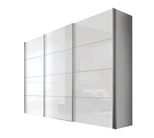 Solutions 49640–203–Armario de Puertas correderas (3Puertas, lacada Color Blanco, Frontal Blanco, Mango Listones alufarben, 68x 300x 216cm