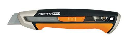 Fiskars Cuttermesser, Länge 16,5 cm, Inklusive Klinge (18mm), Rostfreier Stahl/Kunststoff, Schwarz/Orange, CarbonMax, 1027227