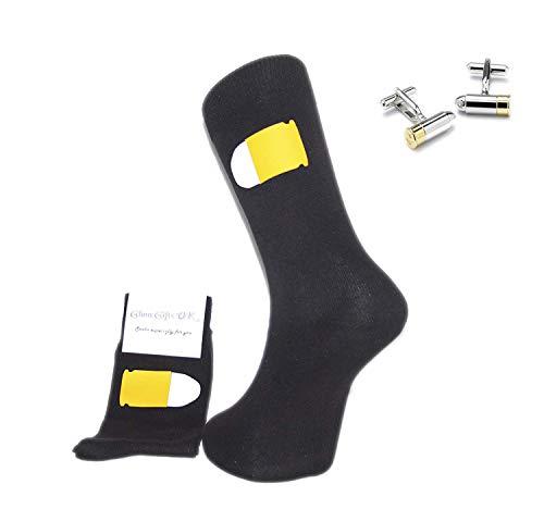 Socke & Manschettenknöpfe Set–Schwarze Socken mit Bullet Design & Bullet Manschettenknöpfe. Ein tolles Geschenk für Weihnachten, Geburtstag, Vatertag, Jahrestag Geschenk oder Geschenk.