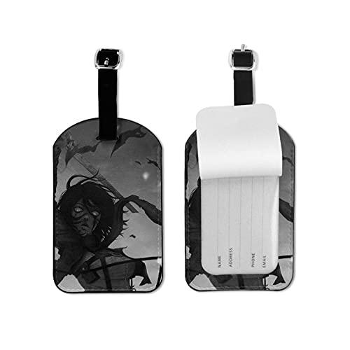 Etiqueta de equipaje con estilo y exquisita etiqueta de equipaje de Anime Attack on Titan Ackerman, hecha de piel sintética de microfibra, apta para maleta y bolso