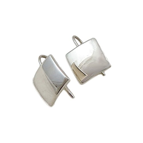 Square 925 Sterling Silver Curved Drop Earrings