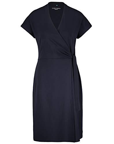 Gerry Weber Damen Kleid Mit Wickeleffekt Tailliert Navy Blue 44
