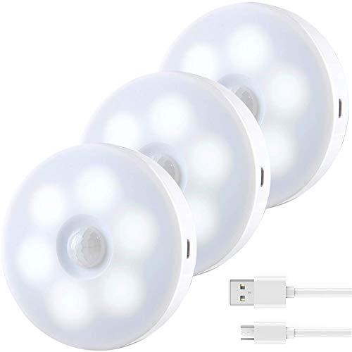 Luz Nocturna con Sensor de Movimiento (3 Pack),Luces Armario LED con Recargable USB,Luz Gabinete Inalámbrica para Cocina,Tocador,Pasillo etc (Blanco)