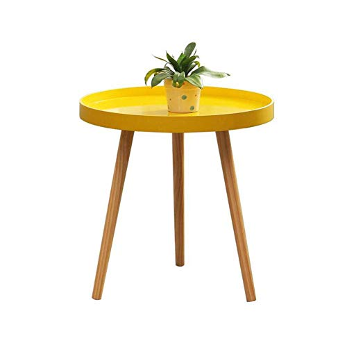 Tabla plegable ligeros Tabla pequeñas y redondas, Mini lateral, varias rondas, Ronda de la mesa de centro, Nordic pequeña mesa de centro, amarillo, Patas de pino Tabla plegable ajustable