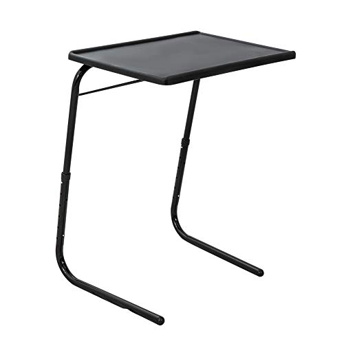 DREAMO Folding Tray Table Snack Table Adjustable Portable Side Table for Sofa Bed Desk Black