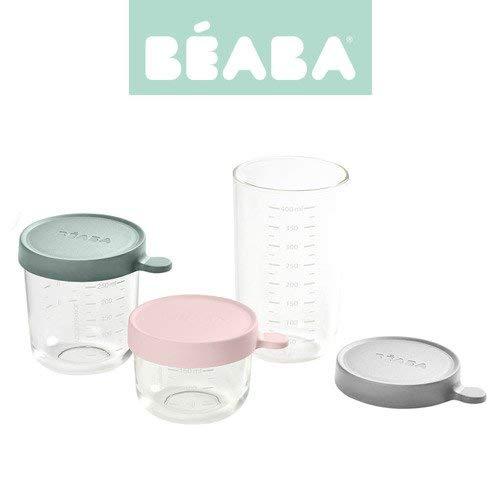 BÉABA - Aufbewahrungsbehälter für Babynahrung - 2er Pack - Skalierung - Temperaturbeständig - Aufbewahrungsbehälter für Babys und Kleinkinder - 150 ml + 250 ml + 400 ml - Gelb/Blau/Dunkelblau