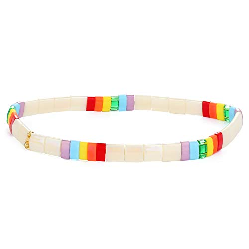 KANYEE Pulseras elásticas de Bloque de Color Pulseras elásticas de baldosas de Cristal Transparente Pulseras de Amistad Hechas a Mano puños joyería regalo-07A-07D