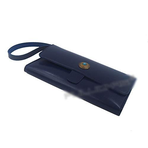 KIBILLL Poche de support de ciseaux en cuir styliste pour salon de coiffure outils étui embrayage (Couleur : Bleu)