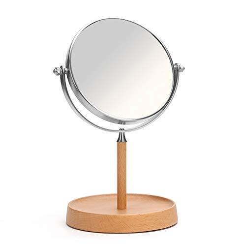 WUYUESUN. Trucco di Legno Desktop Rotonda a Doppia Faccia Specchio Europea Simple Flip Specchio di Bellezza HD 14.5x28cm