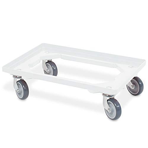 Logistikroller/Transportroller für Eurobehälter 600 x 400 mm, weiß, graue Gummiräder, Tragkraft 250 kg