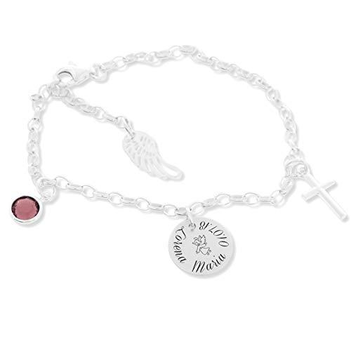 Taufarmband Silber Mädchen ❤️ Armband mit Engel zur Taufe mit Gravur ❤️ Geschenk für Baby und Kinder ❤️ Silberarmband Patenkind Schutzengel | HANDMADE IN GERMANY