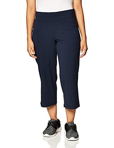 Danskin Women's Plus Size Sleek Fit Yoga Crop Pant, Midnight Navy, 3X
