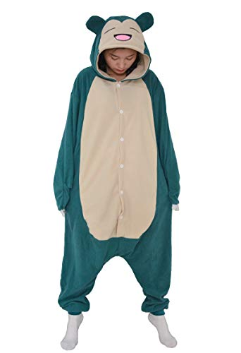 Jumpsuit Tier Pyjama Snorlax Onesie Fasching Halloween Kostüm Schlafanzug Cosplay Pyjama Erwachsene Damen Karneval Einteiler Blau 02 XL