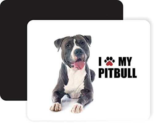 Paw Print I Love My - Pitbull - Black Non-Slip Mouse Pad Gaming Mouse Pad Mousepad Mousemat