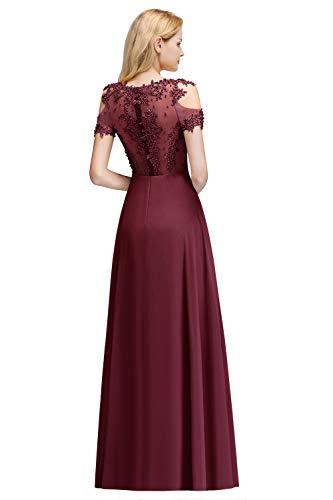 MisShow Damen Abendkleider elegant für Hochzeit A Linie Chiffon Perlen Ballkleider Abschlusskleider Weinrot 32