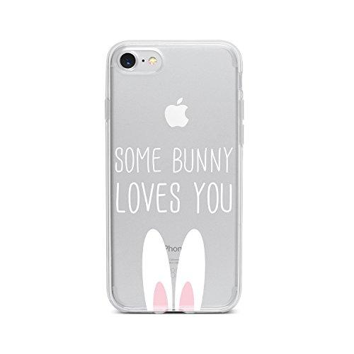 licaso Handyhülle kompatibel für Apple iPhone 7 I Schutzhülle aus TPU mit Some Bunny Loves You Print I Transparente Hülle Handy Aufdruck I Weich Silikon Durchsichtig