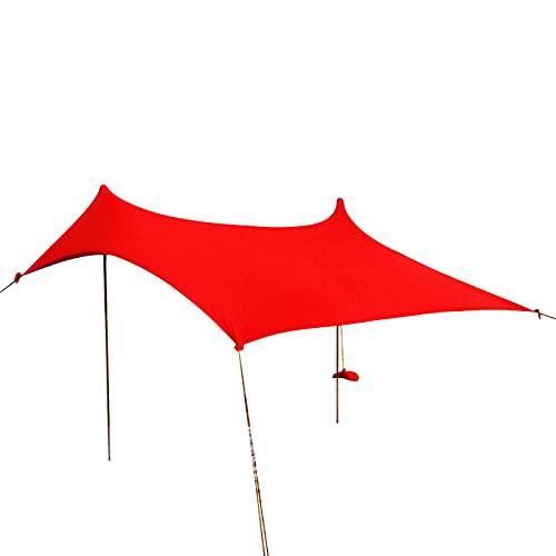 DFLKP Carpa de Playa, toldo, Parasol UPF50 + Easy Pop Up Anti-Wind Sun Shelterg, Parasol portátil para Acampar en la Playa,Rojo,10×10 FT 2 Pole