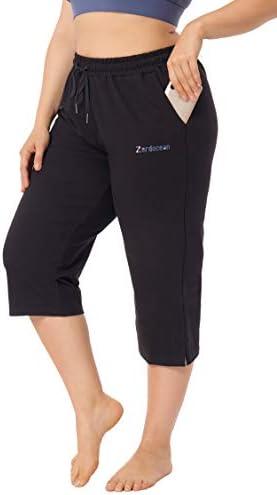 ZERDOCEAN Women s Plus Size Active Yoga Lounge Indoor Jersey Capri Walking Crop Pants with Pockets product image