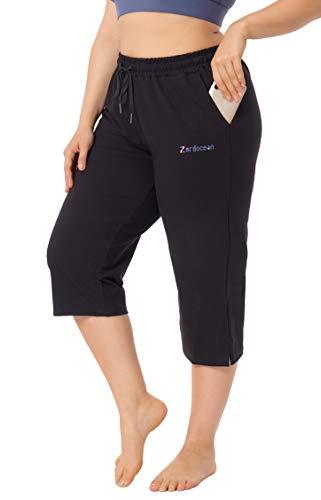 ZERDOCEAN Women's Plus Size Active Yoga Lounge Indoor Jersey Capri Walking Crop Pants Pockets Drawstring Black 2X